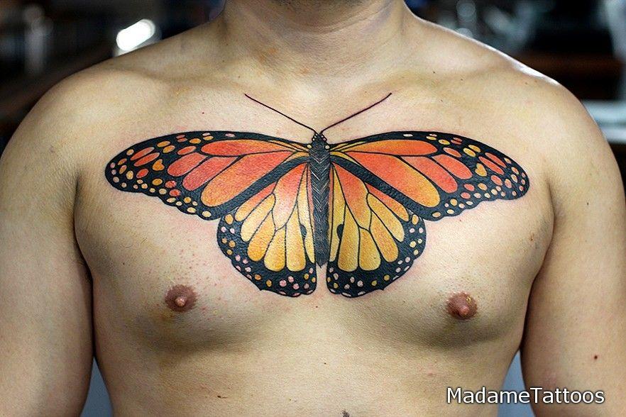 Big Monarch Butterfly Chest Tattoo By Marcella Rangel At Madametattoos Com Tattoos Tattoo Drawings Chest Tattoo