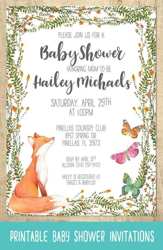 Fox baby shower invitations butterfly baby shower woodland baby fox baby shower invitations butterfly baby shower woodland baby shower diy baby shower filmwisefo