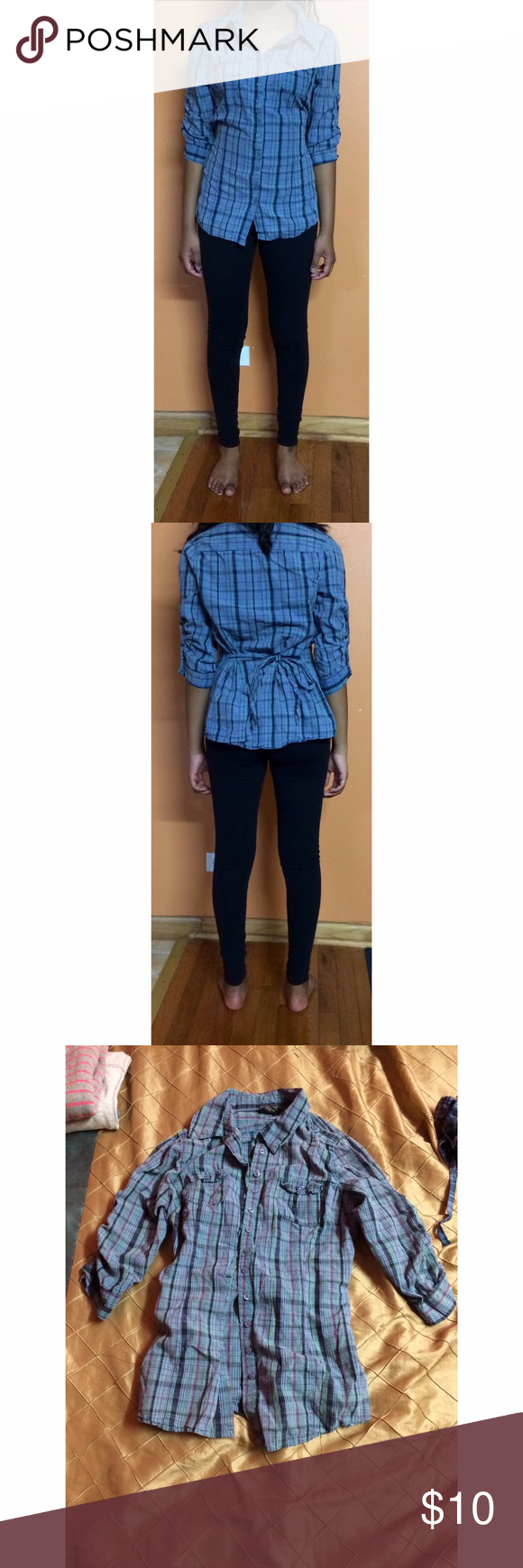 Wet Seal shirt small Small shirt from Wet Seal. Buttons in front, ties in back. Color is mainly blue with green and purple stripes. Good condition. Wet Seal Tops Button Down Shirts