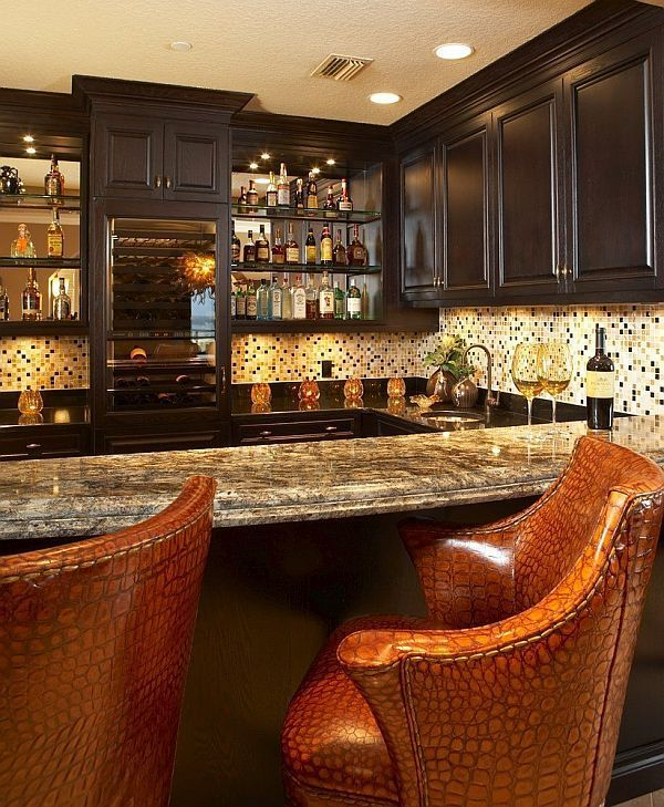 Cool home bar design with sophisticated counter chairs. #cool ...