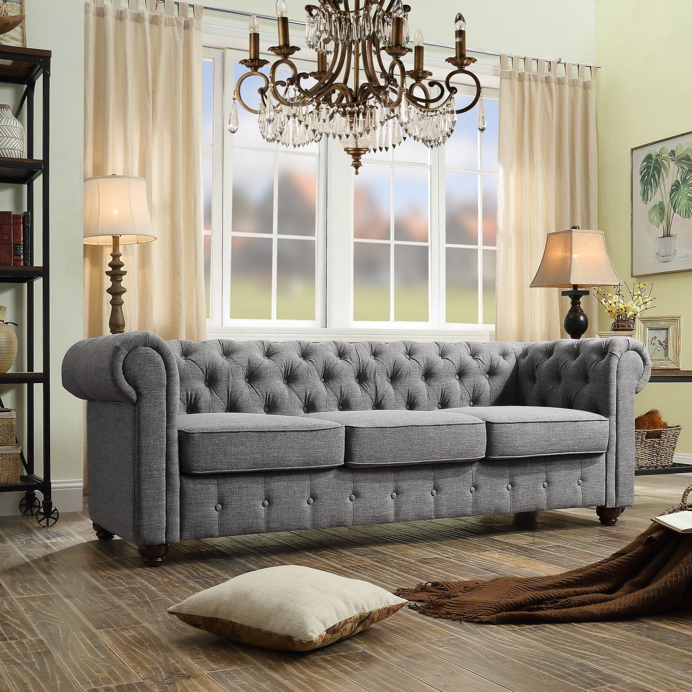 Garcia Hand Tufted Rolled Arms Sofa (Burgundy), Purple (Foam)