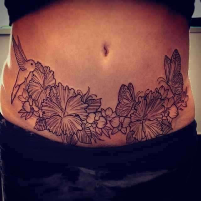 Great tummy tuck tattoo tummy tuck scar tattoos for Tattoos to cover scars on stomach