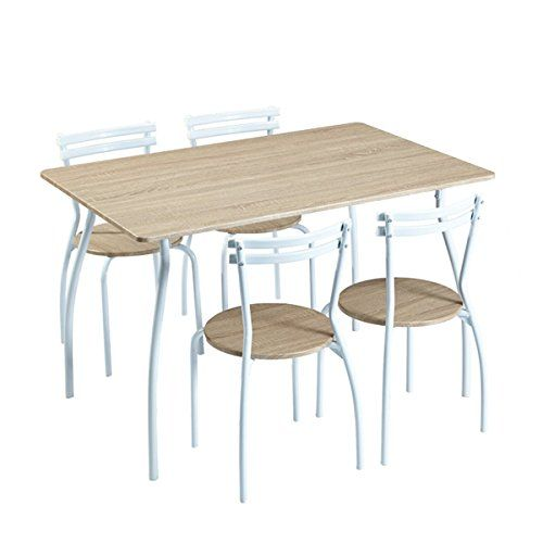 Furniturer 5 Piece Dining Set Wood Metal Table And Chairs Home Kitchen Modern Furniture Read Wood And Metal Table Kitchen Table Chairs Table And Chair Sets