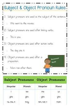 Subject Object Pronoun Rules Poster Object Pronouns Subject Object Kindergarten Worksheets Subject and object pronoun worksheets