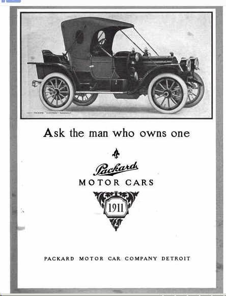 1911 Packard Automobile Advertisement Automobile Advertising
