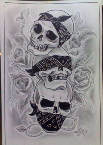 Hear no See no Speak no Evil skulls with bandana