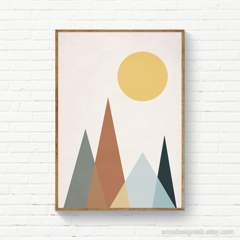 Abstract Scandi Wall Art Geometric Landscape Scandinavian Etsy Wall Art Instant Download Original Wall Art Stripe Wall Art