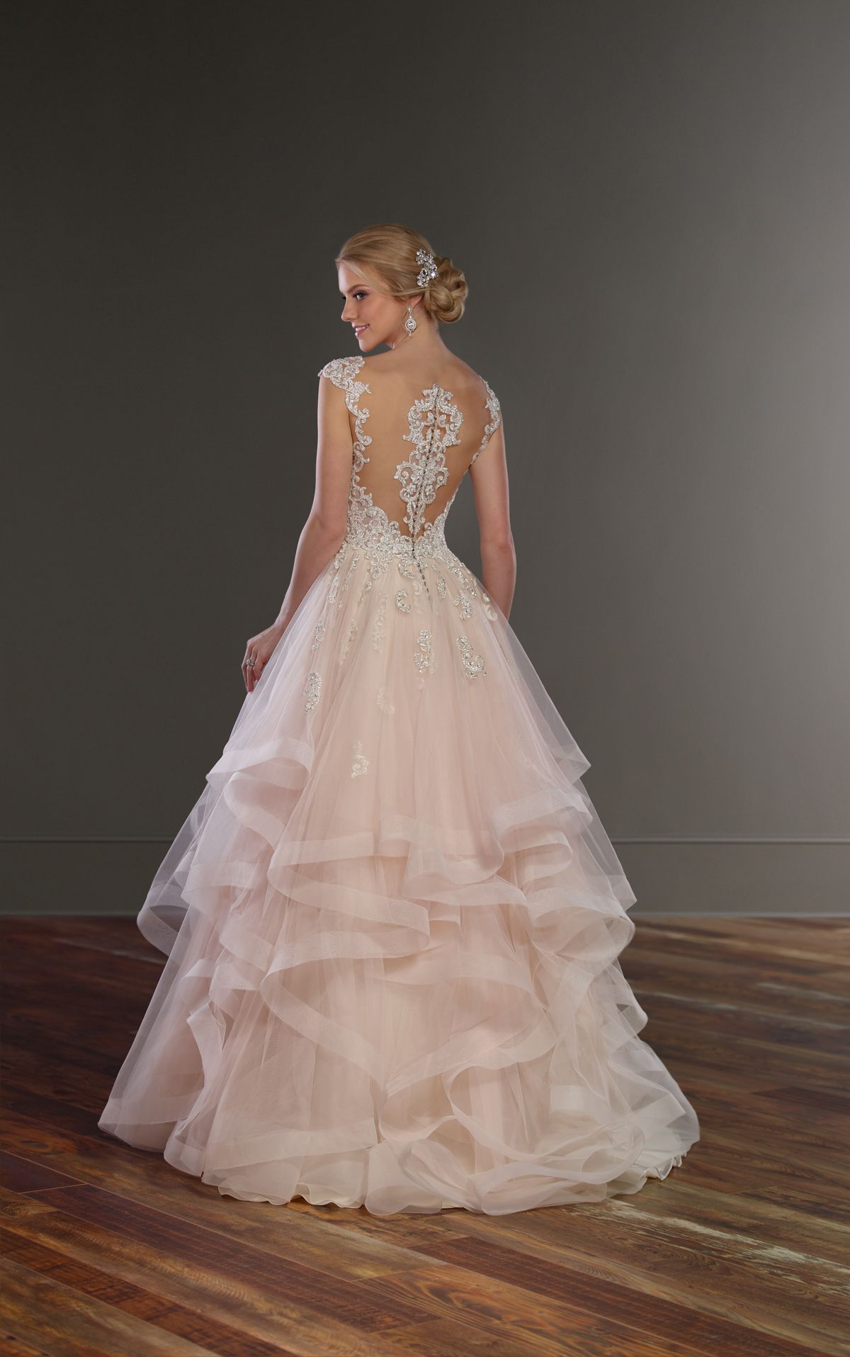 Princess Cut Wedding Dress with Layered Tulle Skirt | Princess ...