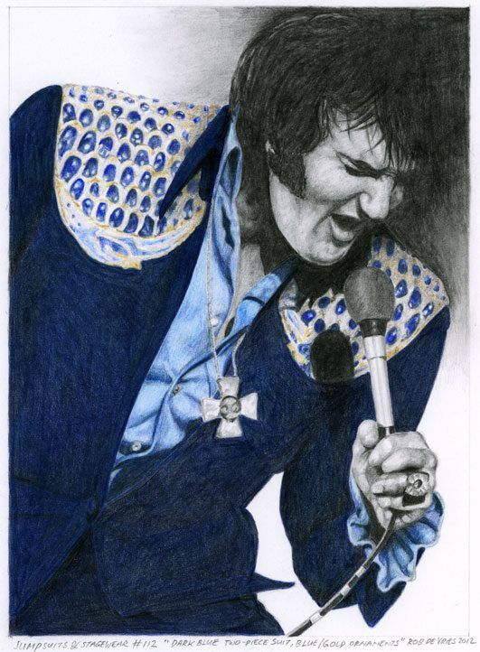 Elvis Presley, Jumpsuits and Stagewear #112. Watercolor, Colored Pencil and Pencil on Bristol Board. 14 x 19 cm. www.elvis-art.com---by--Rob de Vries
