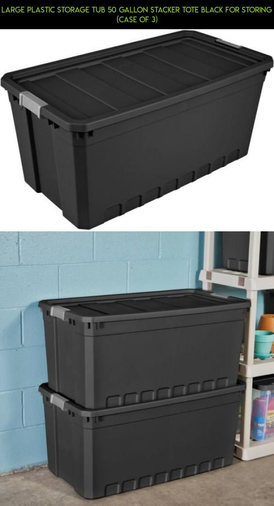 Large Plastic Storage Tub 50 Gallon Stacker Tote Black for Storing