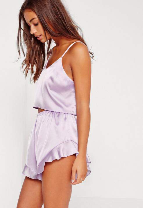 dcd2f0579136 Missguided Purple Cropped Cami Pajama Set