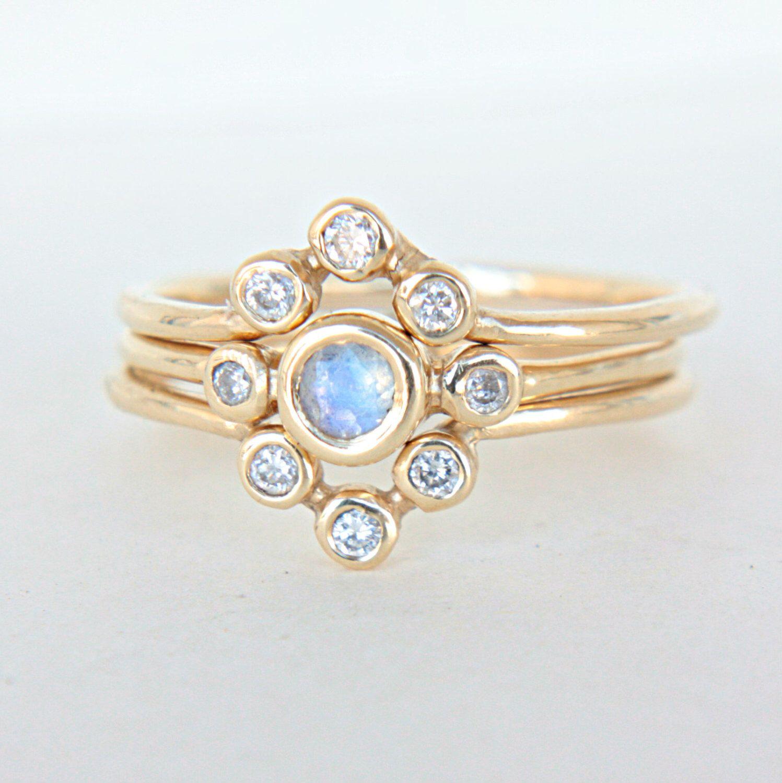 Moonstone and diamond wedding set k yellow gold natural moonstone