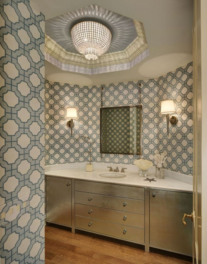 Phillip Jeffries imperial gates wall covering. Powder room with wallpaper…