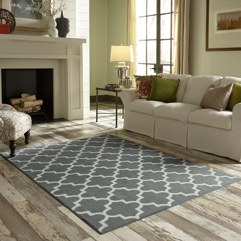 5 X7 Fretwork Design Area Rug Blue Threshold Modern Interior Decor Home Charlton Home