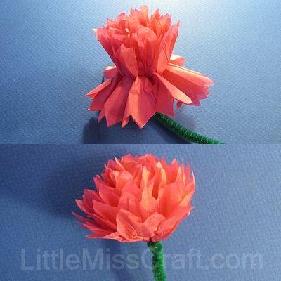 Handmade carnation tissue paper flower craft tutorial girl scouts handmade carnation tissue paper flower craft tutorial mightylinksfo