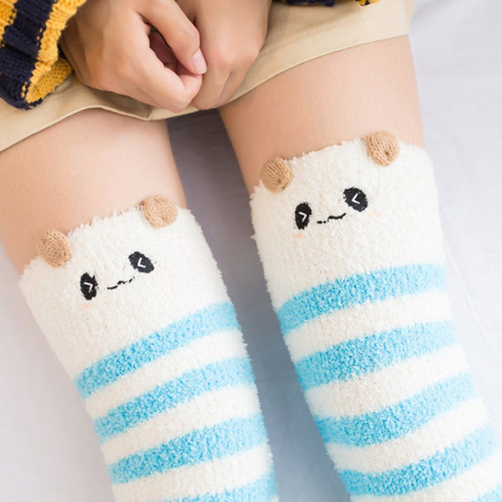e92153341 Blue Striped Panda Bear Thigh Highs Stockings Socks! So Kawaii! Fluffy