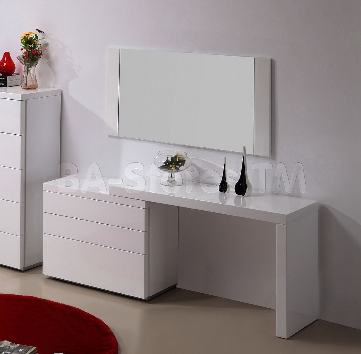 Athens 3 PC Vanity Set In White | Vanities And Mirrors Athens Vanity WH