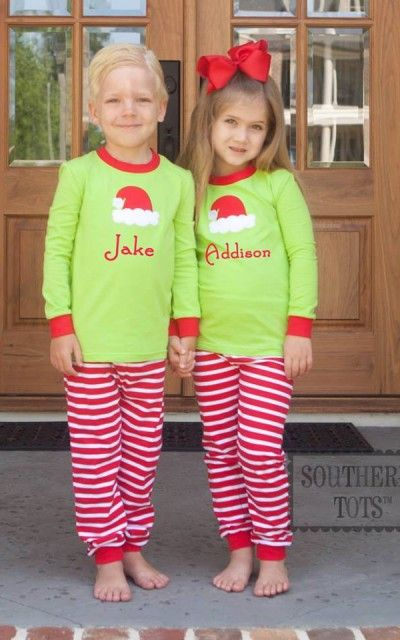 ab6d296066 Southern Tots Girl s or Boy s Knit Lime Green and Red and White Stripe Santa  Hat Christmas Loungewear