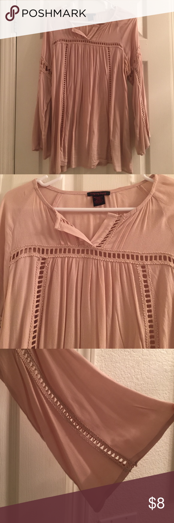 Cream color blouse Beautiful cream blouse in great condition. Bell sleeves Tops Blouses