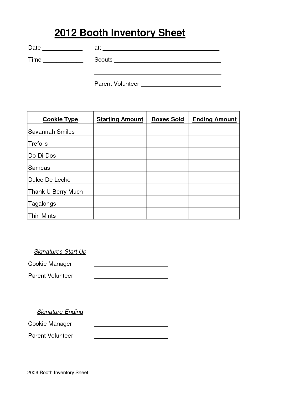 Cookie Booth Inventory Sheet