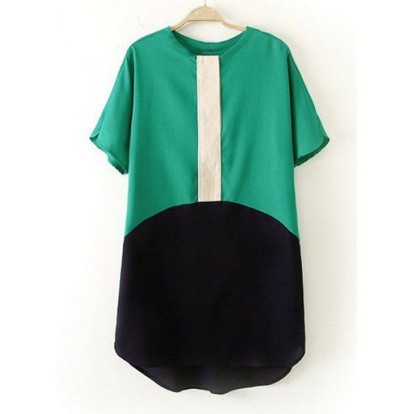 Trendy Style Round Collar Short Sleeve Color Block Splicing Women's Blouse