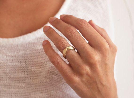 Wide Gold Ring Unisex Wedding Band V Shaped Wedding Ring Etsy In 2020 Wide Gold Ring Wedding Ring Shapes Thick Gold Band
