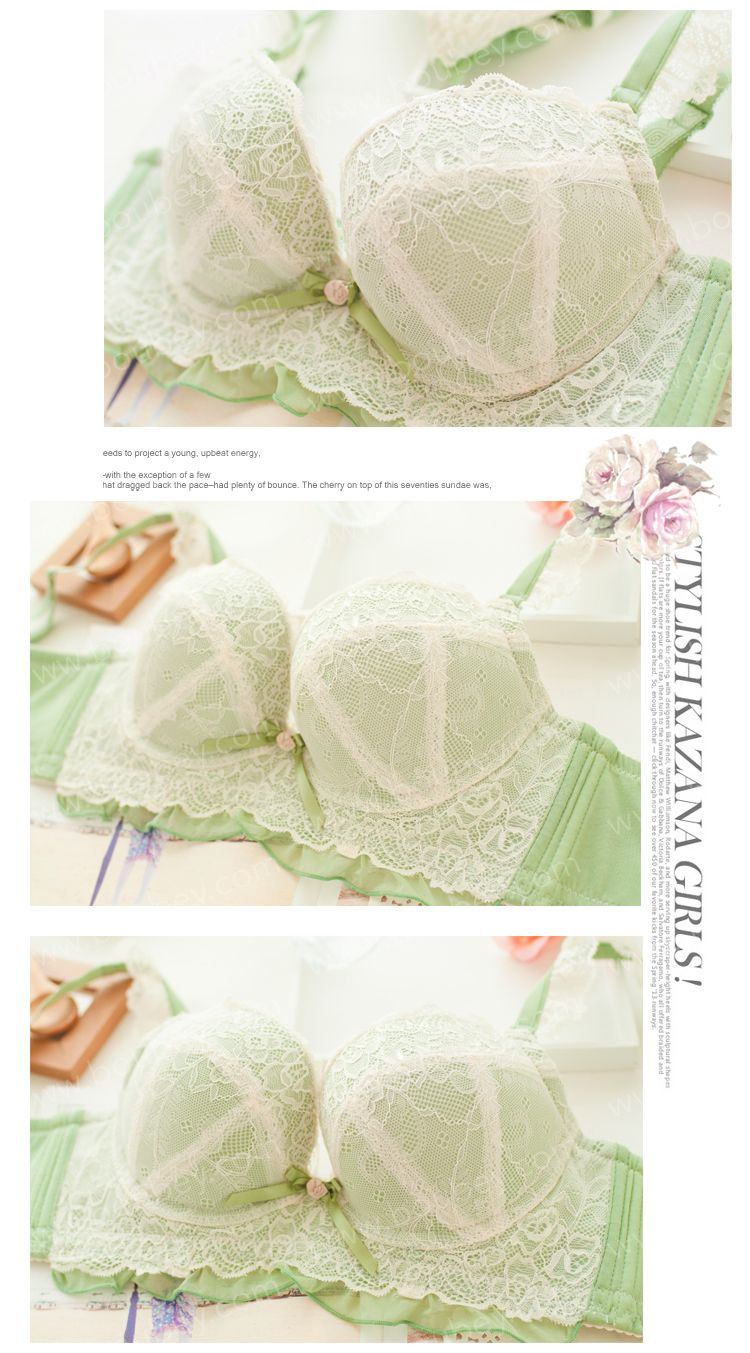 Classic and lovely Fantaisie Vert Underwire Bra with Lace Straps from Boubey.  Free shipping on all orders $50+! #Boubey #lovely #lingerie #underwire #sexy