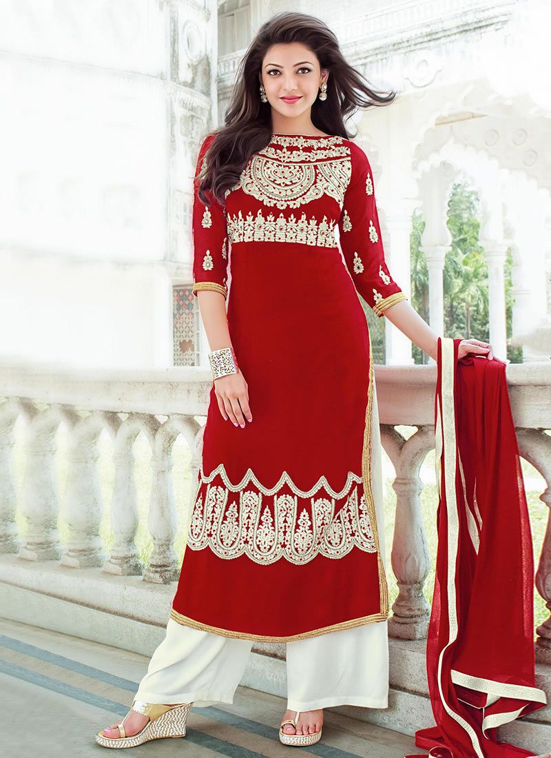 Buy Deep Red Kajal Agarwal Palazzo Suit Salwar Kameez Online Shopping Slshfekn62007 Bollywood Dress Indian Women Fashion