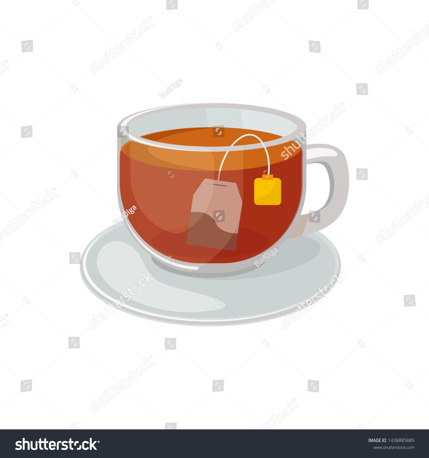glass cup with saucer with black tea and tea bag inside vector illustration isolated on white background hot black tea vector sponsor glass cup black tea tea glass cup with saucer with black tea