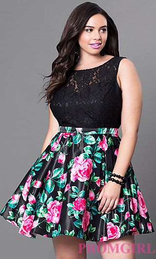 Short Black Floral-Print Plus-Size Homecoming Dress ...