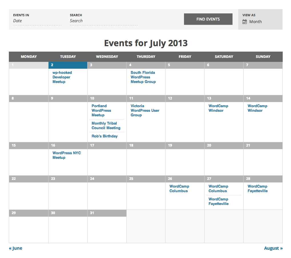 Events Calendar TheEventsCalendar Screenshot   Web Design