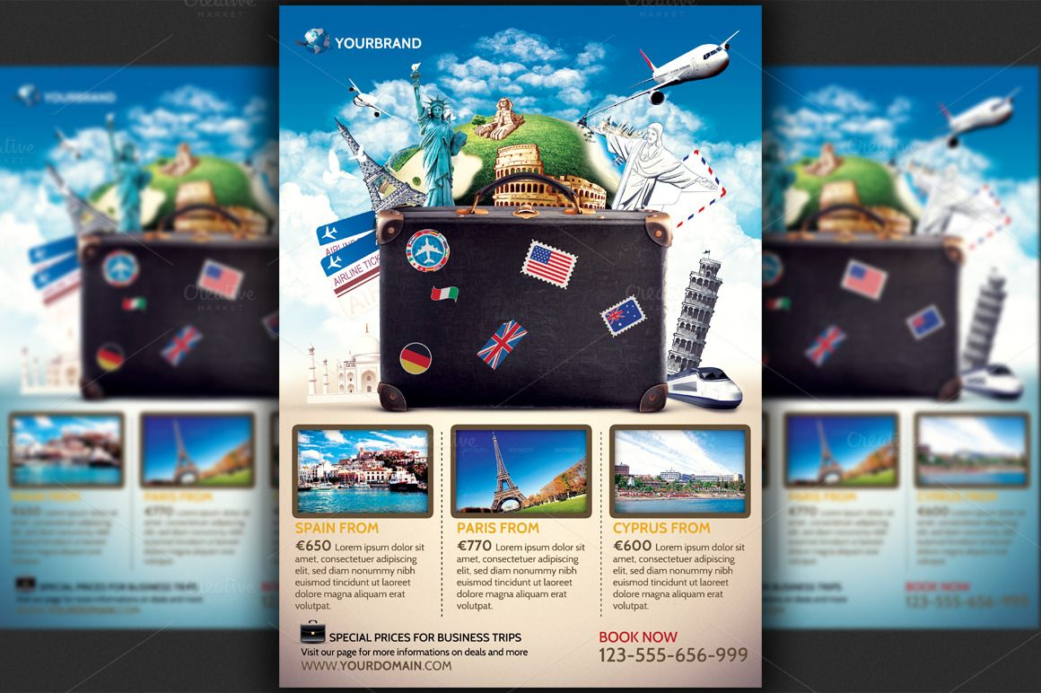 Travel Agency Promotional Flyer Temp By Hotpin On Creative Market