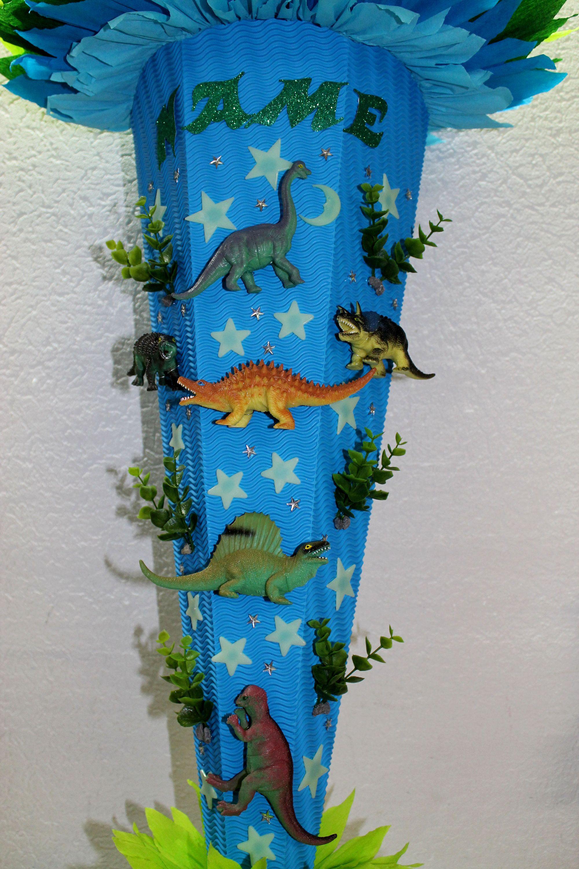 Schultute Sugar Bath Dinos Dinosaur Handmade In Blue Green Light Green Rohling 85 Cm Schultute Dinosaurier Schultute Schultute Kaufen