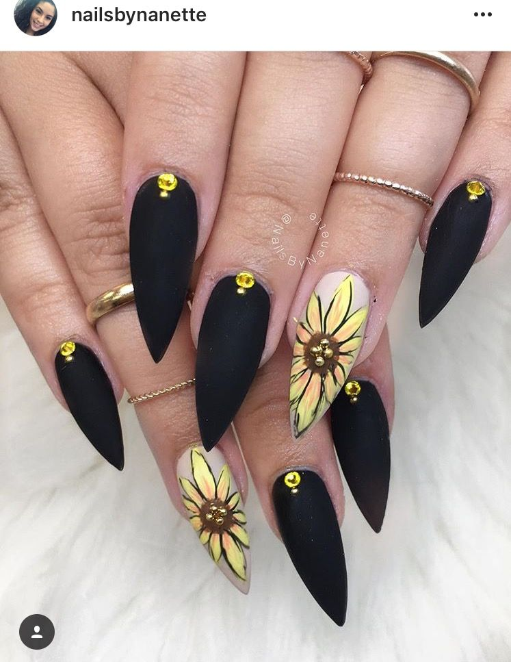 Black sunflower nails | nails | Pinterest | Sunflower nails, Make up ...