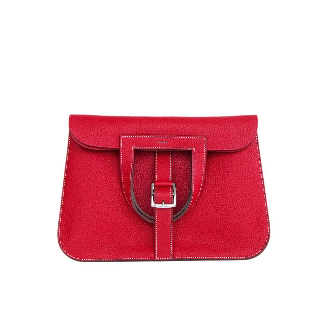 b844eb320f0b Hermes Rouge Casaque Red Halzan 4-way Clemence Crossbody Bag at 1stdibs