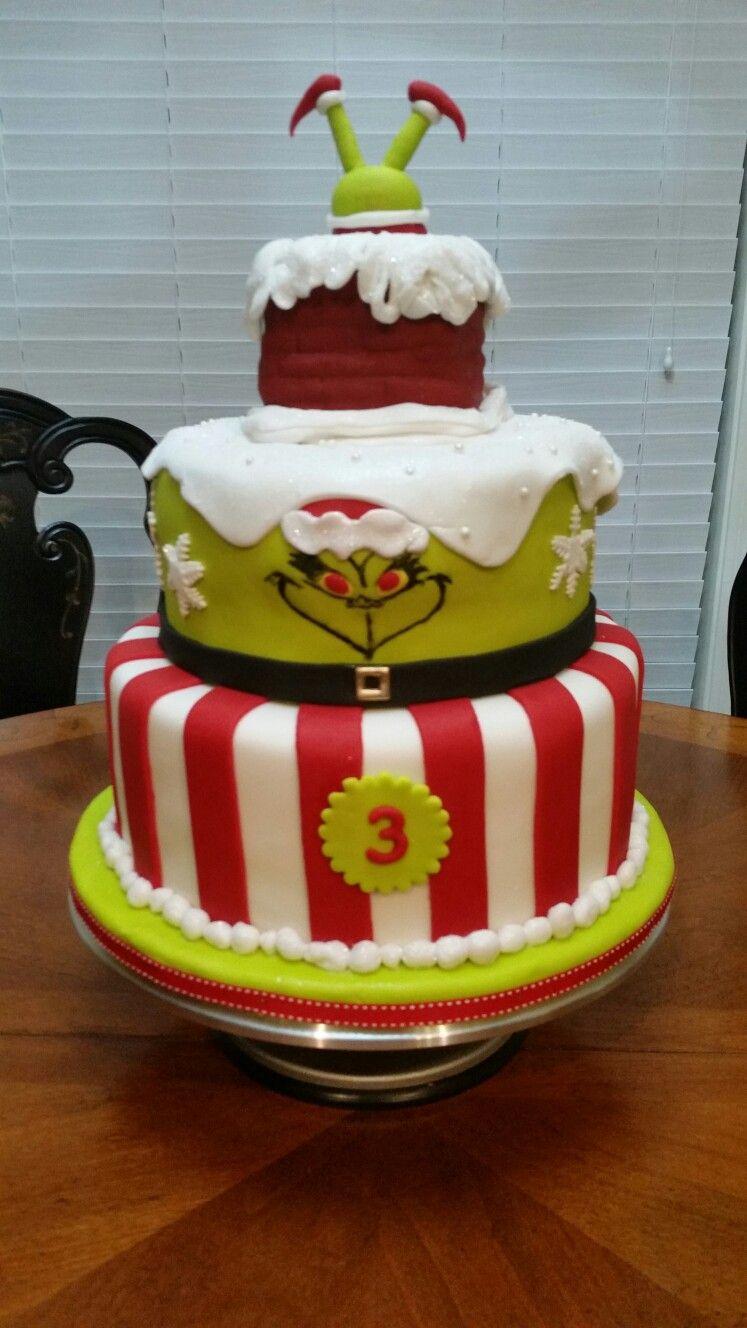 Grinch cake Grinch cake, Christmas birthday party
