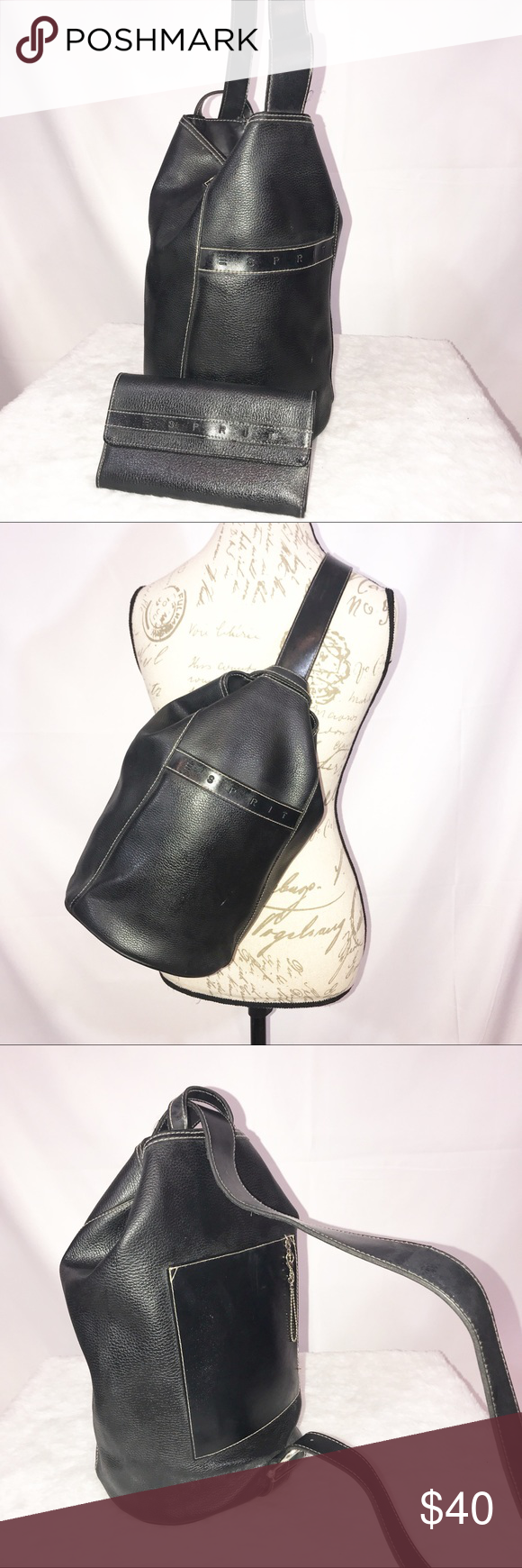 28bc30933 Vintage ESPRIT Black Sling Bag And Wallet Bucket In great preowned vintage  condition. Bag can be worn as a sling bag or carried as a bucket bag. Esprit  Bags
