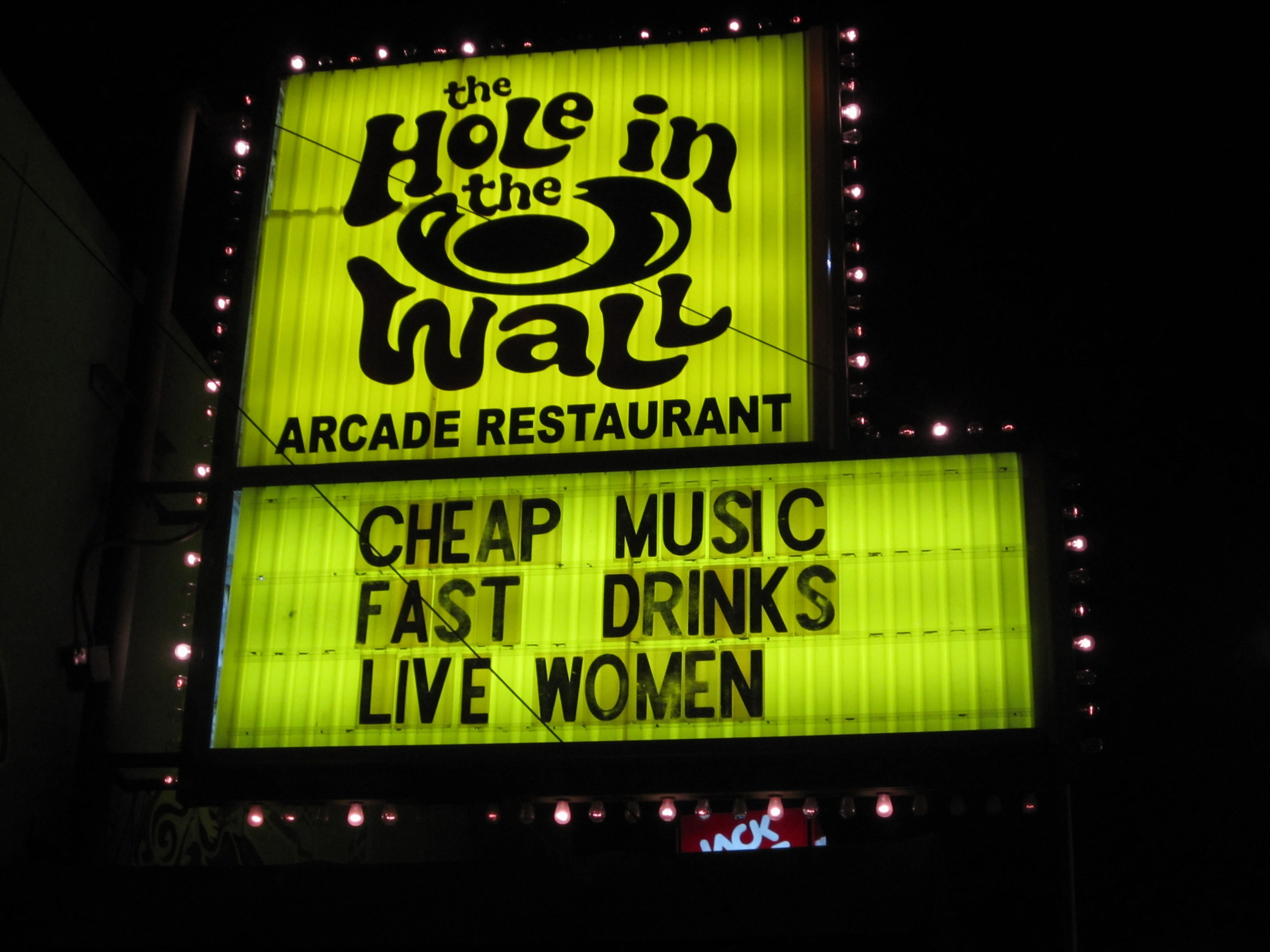 the hole in the wall restaurant music music venue arcade on hole in the wall id=68712