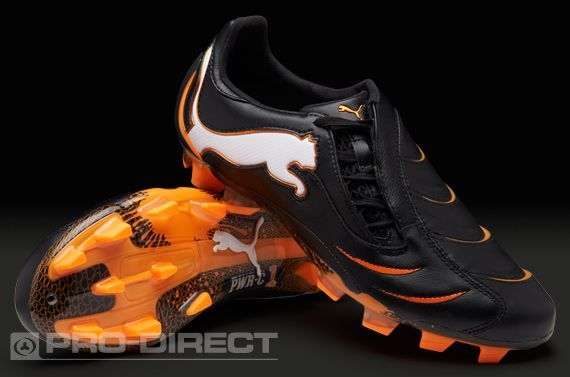 98c4f5481bb2 Puma Football Boots - Puma PowerCat 1.10 FG - Firm Ground - Soccer Cleats -  Black-White-Fluorescent Orange