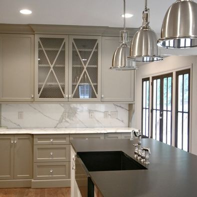 Spaces Chicken Wire Design Pictures Remodel Decor And Ideas - Warm grey kitchen cabinets