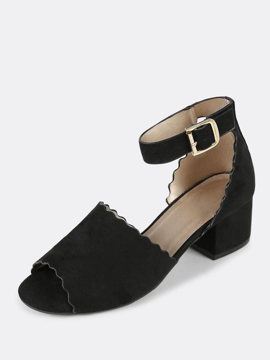 7ca66cb1f087 Shop Scalloped Trim Peep Toe Faux Suede Ankle Strap Low Block Heel BLACK  online. SheIn offers Scalloped Trim Peep Toe Faux Suede Ankle Strap Low  Block Heel ...