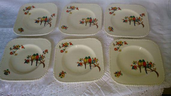 Set of 6 Art deco 1932 square side bread tea plates & Set of 6 Art deco 1932 square side bread tea plates decorated ...