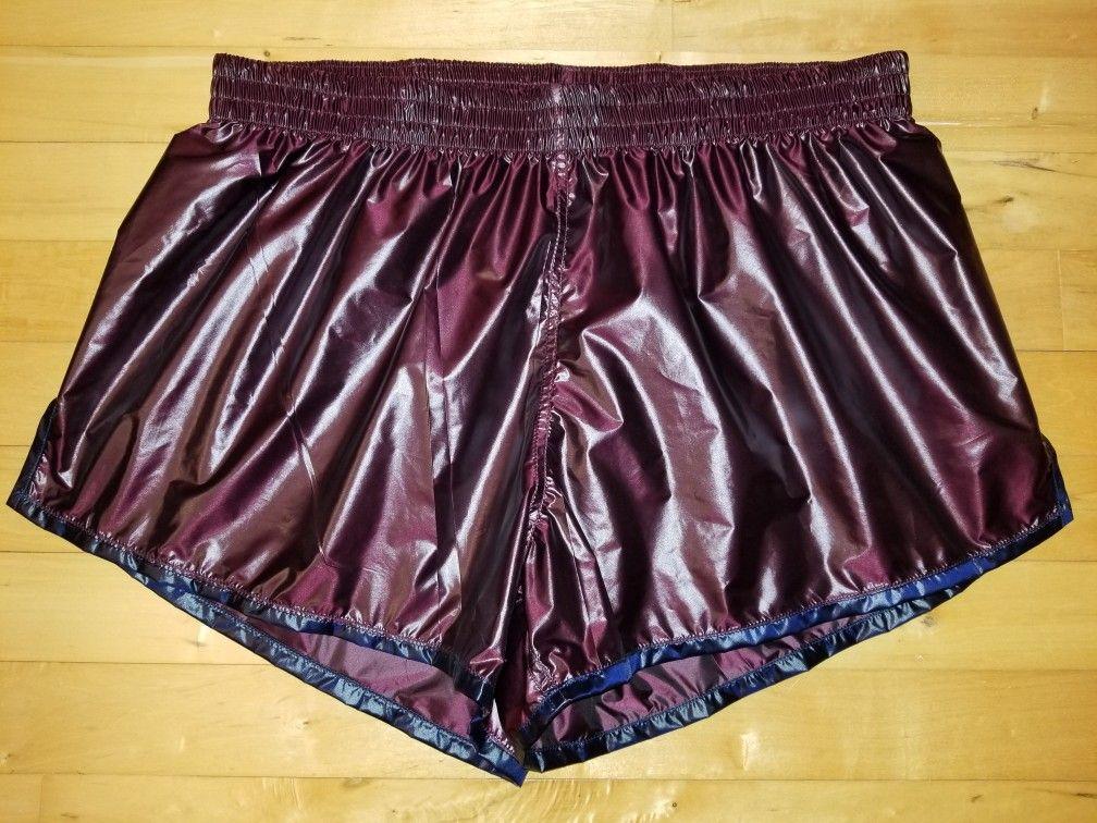 Super Shiny Purple Shorts with Navy Blue Trim | shiny pants
