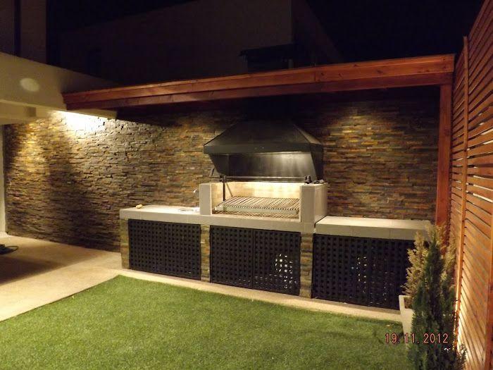 Quincho altos de huechuraba asadores pinterest for Iluminacion de jardines modernos