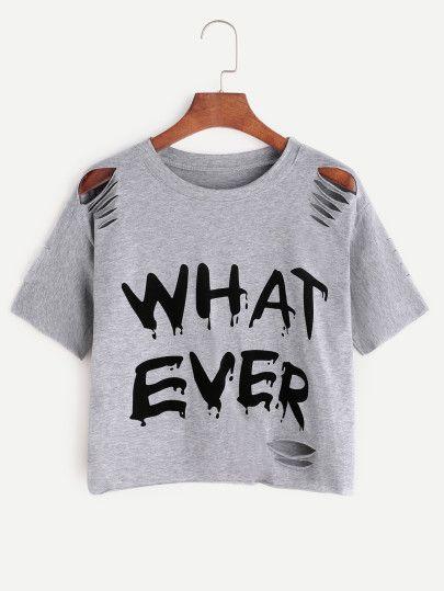 7a60159f9a60 Camiseta rota con estampado de letra - gris | shein | Camisetas ...