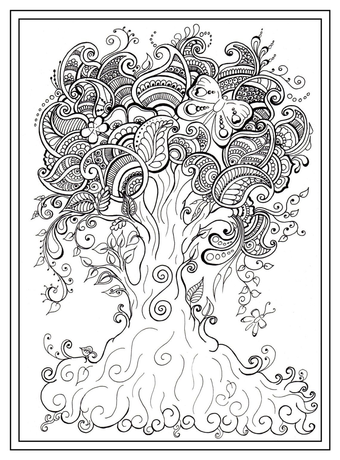 coloring pages tree coloring page