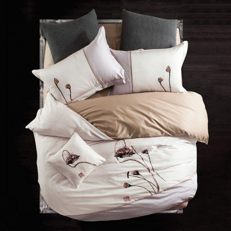 Fresh And Elegant Lotus Flower Duvet Cover Bed Sheet Bedding