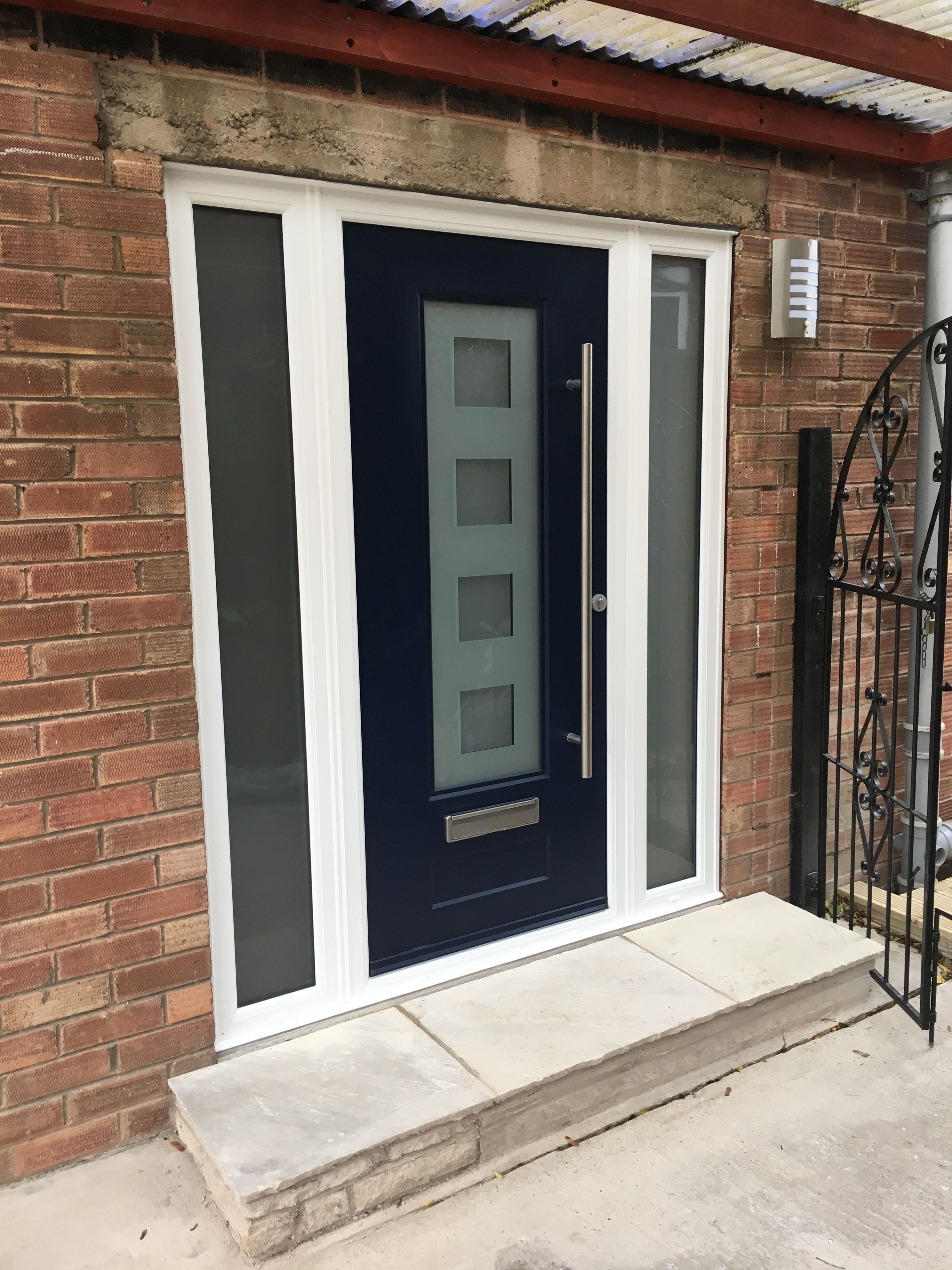 A Vogue Fitted With Cube Glass, Fitted Along Side Two Glass Side Panels.  #HomeImprovements #Entrance #Rockdoor #Vogue