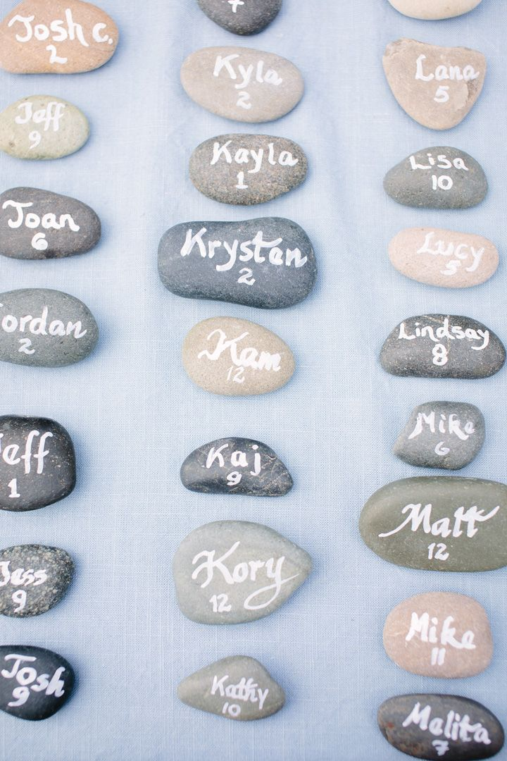 Escort card on pebble| fabmood.com #escortcards #beachwedding #weddingideas