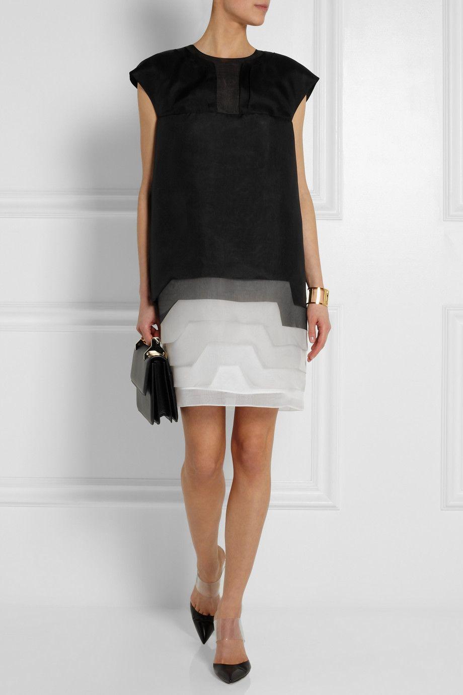 Black Tiered Degrade Silk Organza Dress Fendi